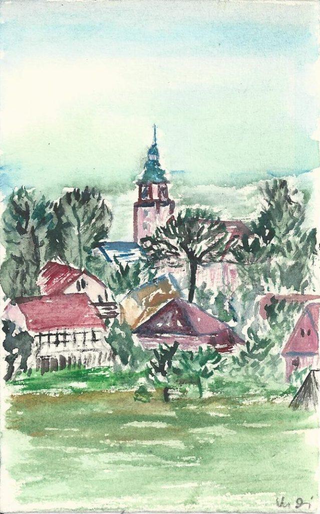 Blick auf den Ort Ponitz - Aquarell von Monika Diedrich