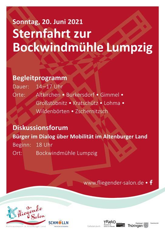 Plakat Sternfahrt Bockwindmühle Lumpzig